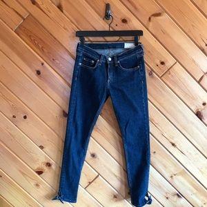 Rag & Bone 26 Skinny Ankle Jeans Tie Bottom Dark